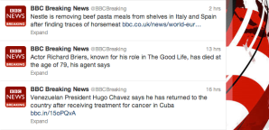 BBC's Breaking News Twitter feed.