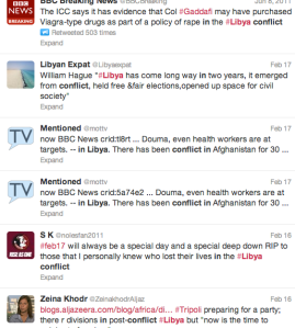 Tweets regarding the conflict in Libya.