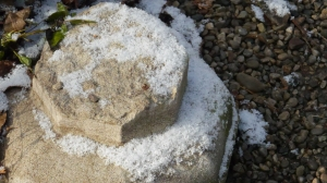 Snow on stone and concrete.