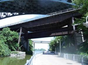 A photo of the two bridges that cross above the Desjardins Trail in Hamilton, Ontario.