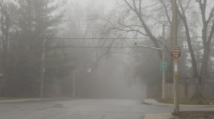 Foggy intersection near my house.